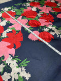 Italian Garden Floral Novelty Heavy Twill Panel - Navy Blue / Red / Green