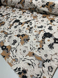 Italian Heavy-Weight Floral Fil Coupe Novelty Brocade - Beige / Brown / Black