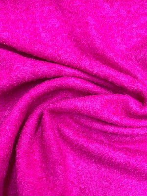 Italian Mohair Boucle Wool Coating - Magenta