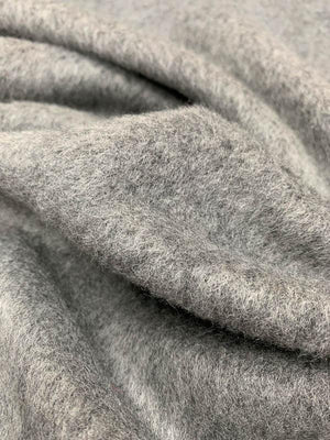 Short-Mohair Boucle Wool Coating - Grey