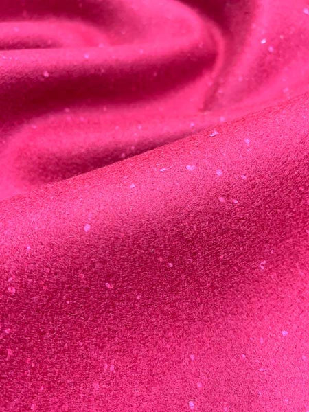 Italian Speckled Wool Coating - Cranberry Red
