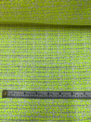 Italian Novelty Tweed Suiting - Neon Yellow / White