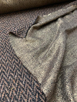 Italian Novelty Double Sided Gold Foil Printed Suiting - Rustic Gold / Metallic Brown