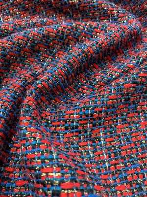 French Novelty Tweed with Gold Lurex Suiting - Red / Blue / Navy