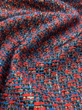 French Novelty Tweed with Gold Lurex - Red / Blue / Navy