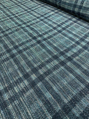 Italian Novelty Plaid Tweed with Lurex - Blue / Navy / Grey