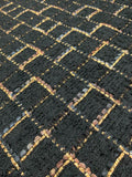 Italian Novelty Checkerboard Wool Tweed with Lurex - Black / Gold / Brown