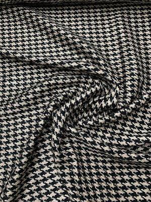 Italian Novelty Houndstooth Tweed with Lurex Wool Suiting - Black / Metallic / Gold