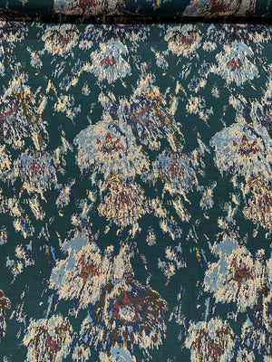 Metallic Abstract Floral Brocade - Navy / Metallic Blush