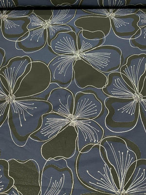 Bold Floral Metallic Brocade - Navy / Black / Silver