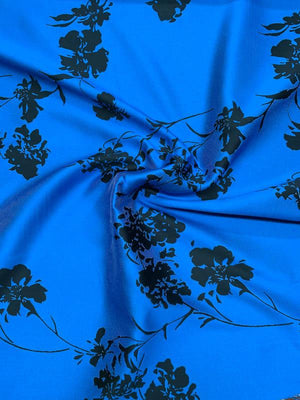 Italian Open Floral Brocade - Royal Blue / Black