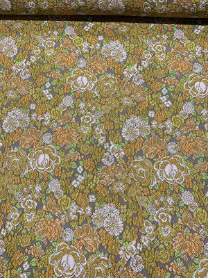 Italian Floral Field Textured Brocade with Lurex - Olive Green / Mustard Yellow  / Grey