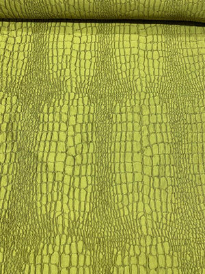 Italian Reptile Textured Brocade - Olive Green