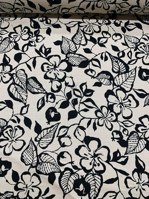 Italian Floral Cotton Pique Brocade - Black / Sand