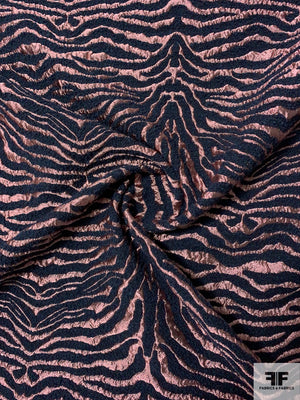 Italian Zebra Pattern Raised Textured Metallic Wool Brocade - Dusty Rose / Navy