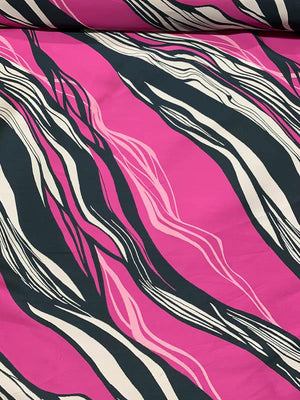 Spanish Abstract Wavy Streaks Brocade - Magenta / Navy / Grey