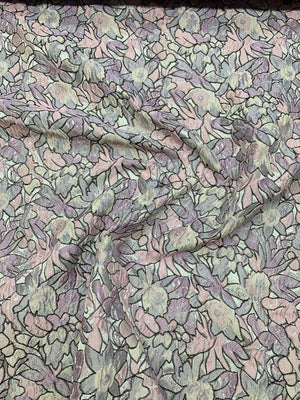 Abstract Floral Field Textured Brocade - Pink / Lilac / Lavender / Grey