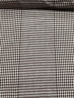 Gingham Check and Plaid Cotton Shirting - Brown / White