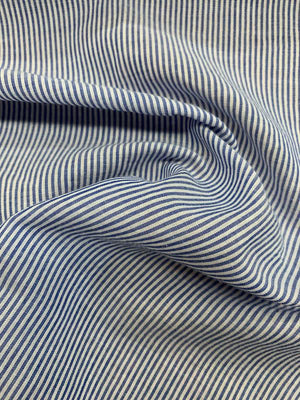 Striped Cotton Shirting - Blue / White