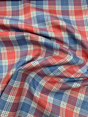Plaid Cotton Shirting - Red / White / Blue