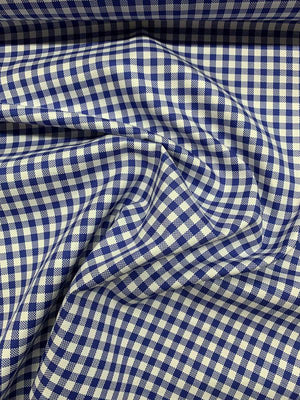 Gingham Check Cotton Shirting - Blue / White