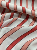 Striped Cotton Shirting - Red / Salmon / White