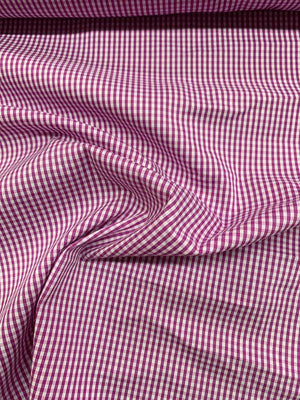 Gingham Check Stretch Cotton Shirting - Magenta / White