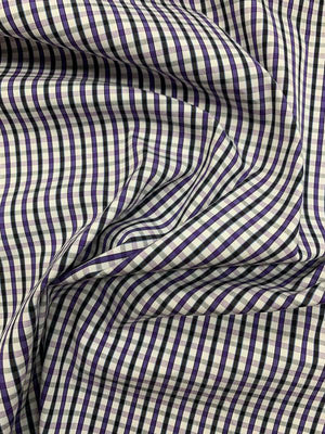 Italian Gingham Check Stretch Cotton Shirting - Purple / Black / White
