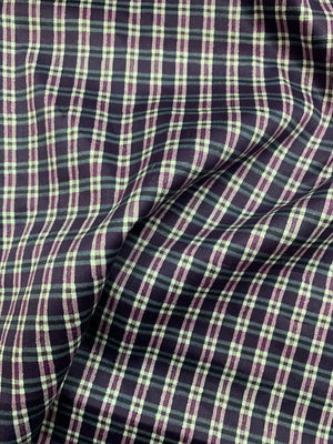 Plaid Cotton Shirting - Purple / White
