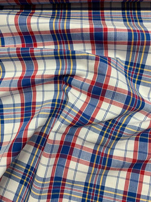 Gingham Cotton Shirting - Red / White / Blue / Yellow