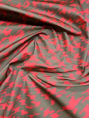 Italian Abstract Houndstooth Printed Poly Taffeta - Red / Brown