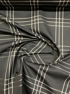 Italian Plaid Heavy Silk Taffeta - Black / White