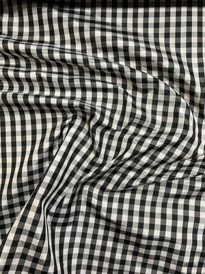 Italian Gingham Yarn-Dyed Silk Taffeta - Black / White