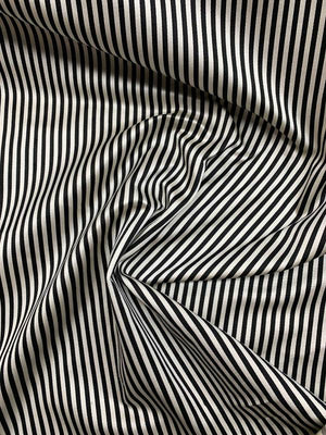 Italian Striped Silk Satin - Black / White