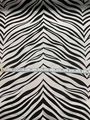 Zebra Printed Poly Nylon Faille - Black / White