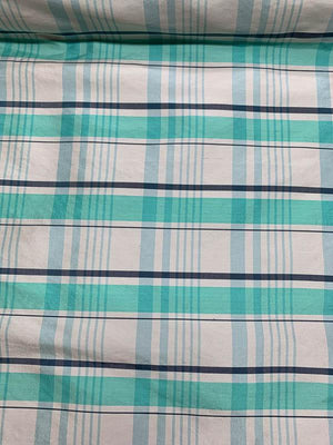 Plaid Yarn-Dyed Silk Taffeta - Turquoise / White / Blue