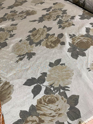 Shadowy Floral Yarn-Dyed Hammered Poly Taffeta - Grey / Taupe