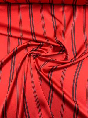 Striped Printed Silk Charmeuse - Red / Plum