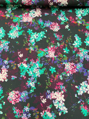 Multicolor Floral Matte-Side Printed Stretch Silk Charmeuse - Multicolor