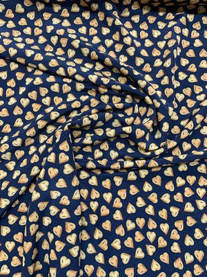 Hearts Printed Silk Crepe de Chine - Yellow-Orange / Navy