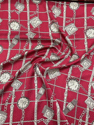 Pocket Watch and Chains Printed Silk Jacquard - Cranberry / Cream