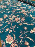 Flowers and Birds Printed Silk Crepe de Chine - Teal / Red / Cream