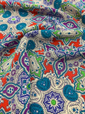 Geometric Mosaic Printed Silk Crepe de Chine - Multicolor