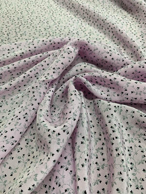 Miniature Hearts on Stems Printed Silk Crepe de Chine - Lilac / Grey / Black