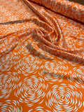 Graphic Floral Rossettes Printed Silk Charmeuse - Orange / White
