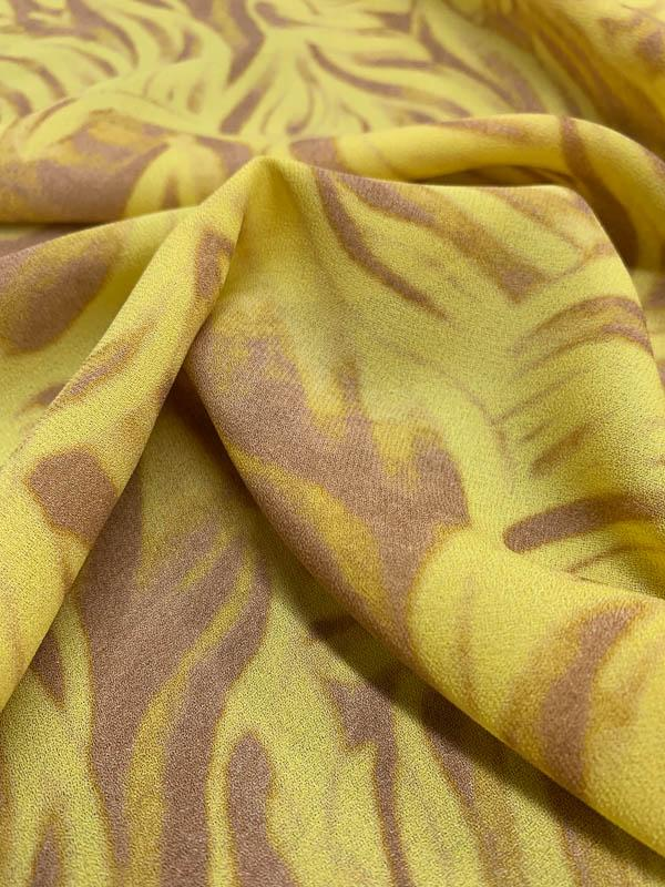 Abstract Wavy Striations Printed Silk Crepe de Chine - Yellow / Tan
