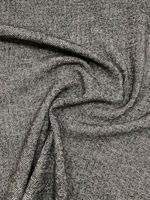Italian Herringbone Stretch Wool Tweed - Black / White