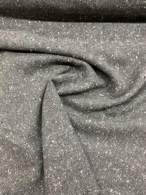 Italian Speckled Jacket-Weight Wool Suiting - Grey / White