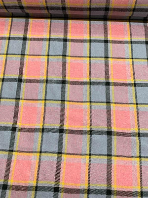 Italian Plaid Wool-Like Suiting - Pink / Lilac / Black / Yellow