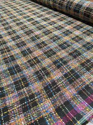 Italian Boucle Plaid Wool-Like Tweed - Brown / Multicolor